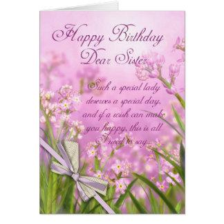 Carte d'anniversaire de soeur - floral féminin