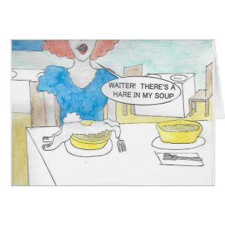 Carte d'anniversaire de soupe à lapin