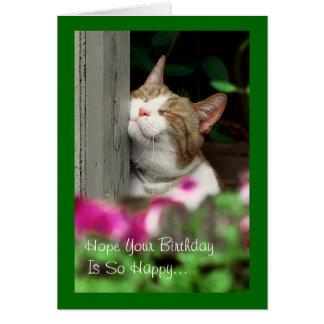 Carte d'anniversaire de sourire de chat