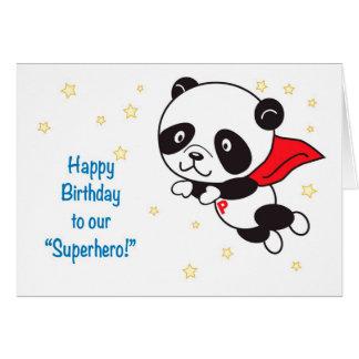 Carte d'anniversaire de super héros de panda