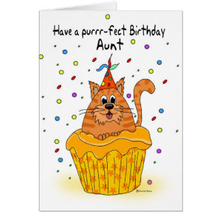 carte d'anniversaire de tante avec le chat de
