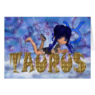 Carte d'anniversaire de Taureau mignonne