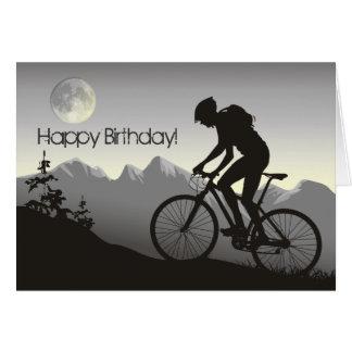 Carte d'anniversaire de vélo de montagne de silhou