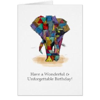 Carte d'anniversaire d'éléphant de mosaïque