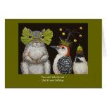 carte d'anniversaire d'oiseau/animale drôle