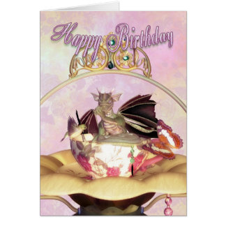 Carte d'anniversaire - dragon suçant l'oiseau de