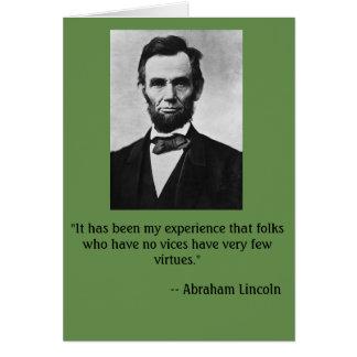 Carte d'anniversaire drôle comportant Abe Lincoln