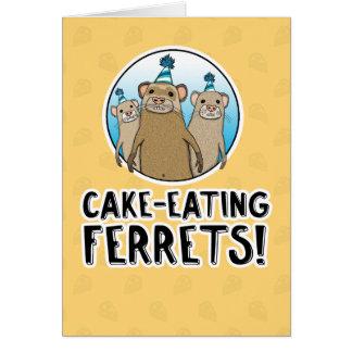 Carte d'anniversaire drôle de furets de gâteau