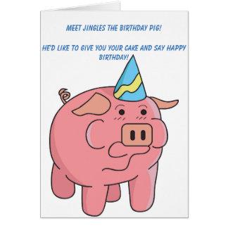 Carte d'anniversaire drôle de porc
