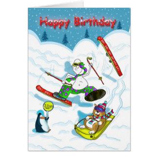 Carte d'anniversaire drôle de ski, gros chat et