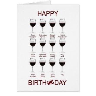 Carte d'anniversaire drôle d'échantillon de vin