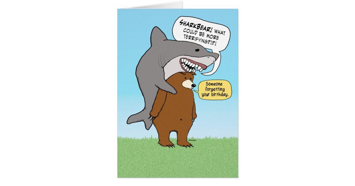 Carte d 39 anniversaire dr le d 39 ours et de requin - Cadeau utile et drole ...