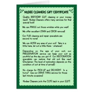 Carte d'anniversaire drôle :  Nettoyage de costume