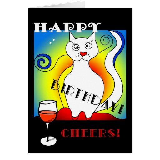 Carte d'anniversaire du chat de Mondrian drôle