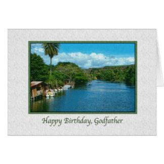 Carte d'anniversaire du parrain avec la rivière ha