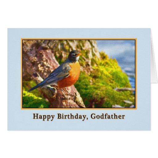 Carte d'anniversaire du parrain avec Robin sur un