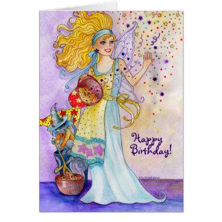 Carte d'anniversaire féerique de confettis