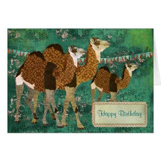 Carte d'anniversaire fleurie de jade de chameaux