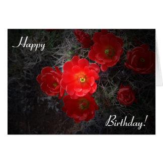 Carte d'anniversaire fleurissante de cactus