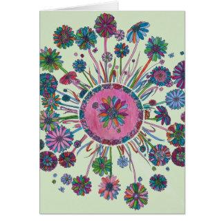 Carte d'anniversaire - fleurs et Madame Bugs