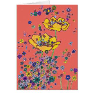 Carte d'anniversaire - grandes fleurs jaunes