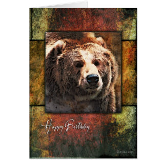 Carte d'anniversaire grisâtre encadrée rustique