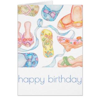 Carte d'anniversaire heureuse de chaussures