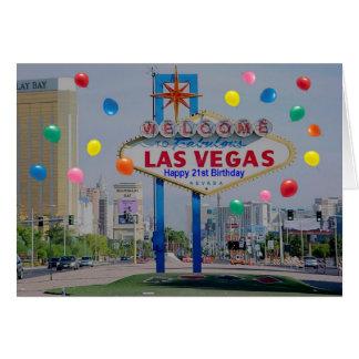 Carte d'anniversaire heureuse de Las Vegas 21ème