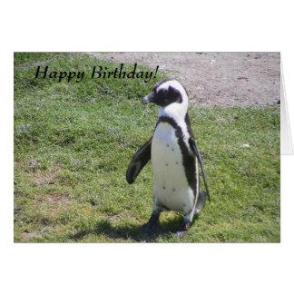 Carte d'anniversaire heureuse de pingouin !