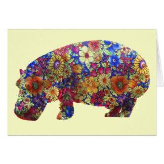 Carte d'anniversaire hippie d'hippopotame de