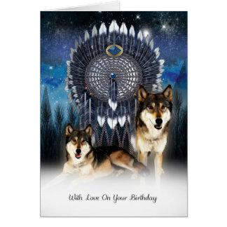 Carte d'anniversaire indienne de loup de style