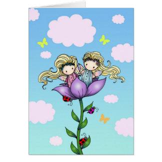 Carte d'anniversaire jumelle de soeur de fées jume