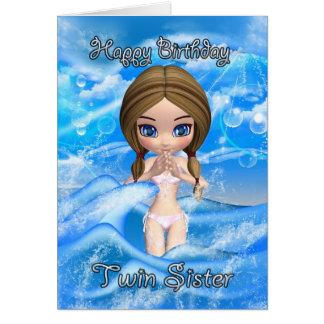carte d'anniversaire jumelle de soeur - natation