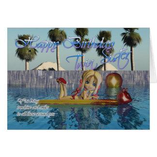 Carte d'anniversaire jumelle de soeur, piscine de