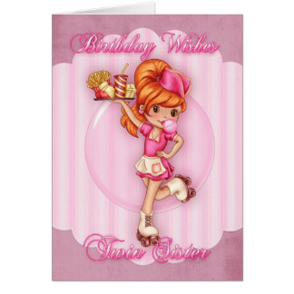 carte d'anniversaire jumelle de soeur - rose