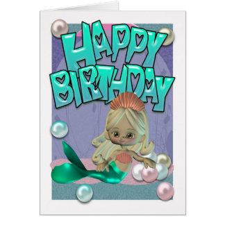 Carte d'anniversaire mignonne avec la sirène