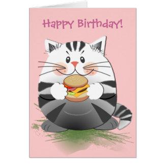 """Carte d'anniversaire mignonne """"chat d'hamburger """""""