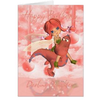 Carte d'anniversaire mignonne de fille, dragon