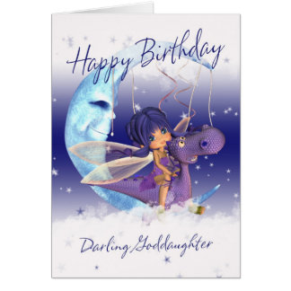 Carte d'anniversaire mignonne de filleule, dragon