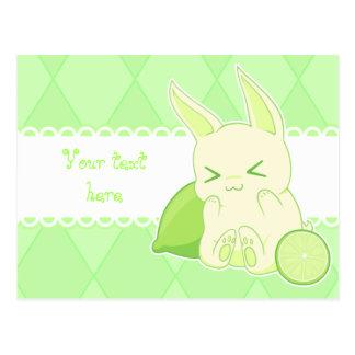 Carte d'anniversaire mignonne de lapin de chaux de