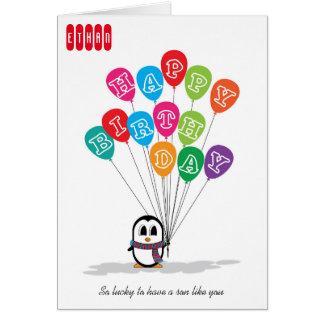 Carte d'anniversaire mignonne de pingouin