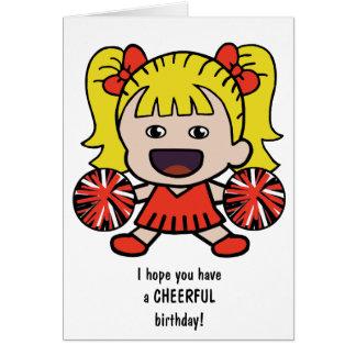 Carte d'anniversaire mignonne de pom-pom girl pour