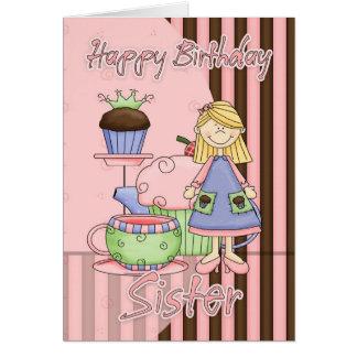 Carte d'anniversaire mignonne de soeur - petits