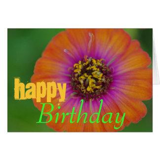 "Carte d'anniversaire orange de Zinnia de ""joyeux"