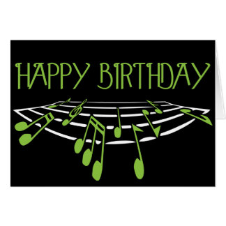Carte d'anniversaire orientée musicale - vert