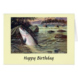 Carte d'anniversaire - pêche - saumon