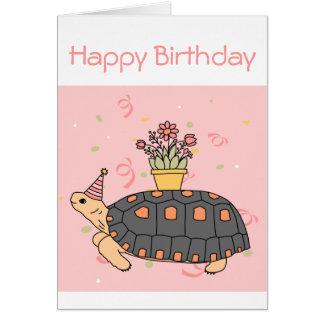 Carte d'anniversaire personnalisable de tortue de