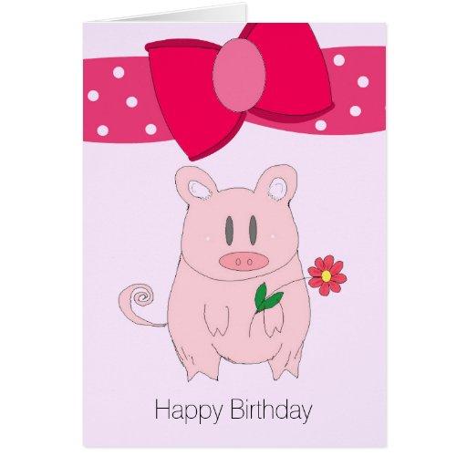 Carte d'anniversaire porcine humoristique
