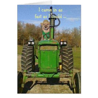 Carte d'anniversaire pour des fans de tracteur
