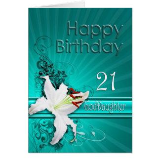 Carte d'anniversaire pour la filleule, 21, avec un